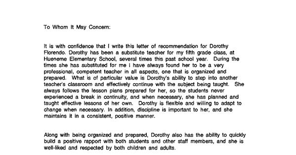 Recommendation Letter Sample For Teacher From Student