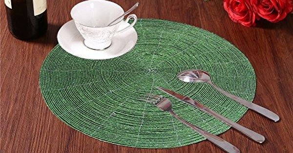 Placemat Table Round Dining Mat Handmade Beaded Green Place Mat 1piece 14 Inch Continue To The Product At The Image Link Dining Mats Placemats Round Dining