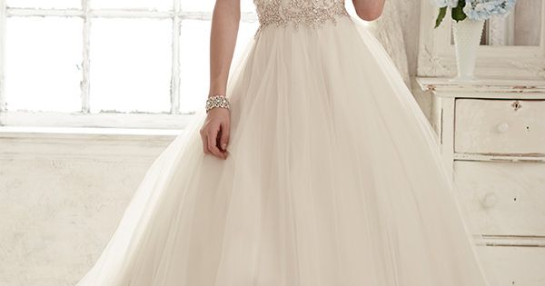 strapless sweetheart neckline embroidered bodice tulle skirt gorgeous ball gown wedding dress