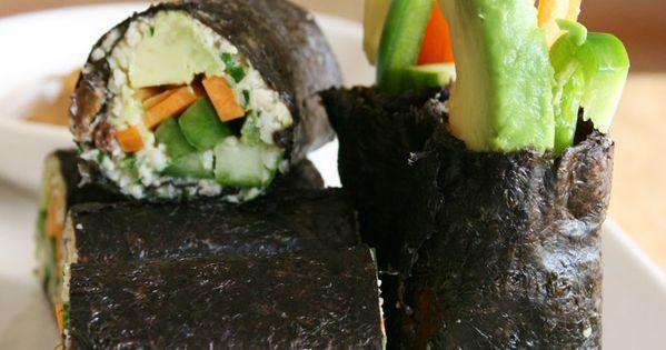 Fresh & crunchy raw vegan nori rolls with a nutty, sweet &