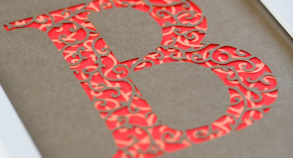 The letter B, cut paper typography