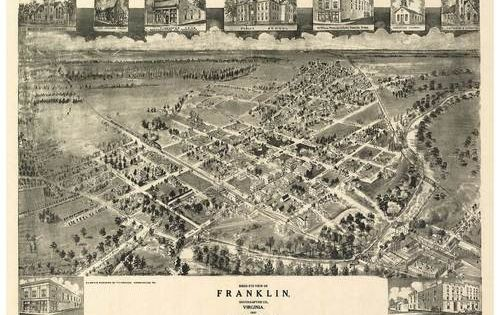 Franklin Virginia 1907 Bird S Eye View With Images Panoramic Map Vintage Maps Art