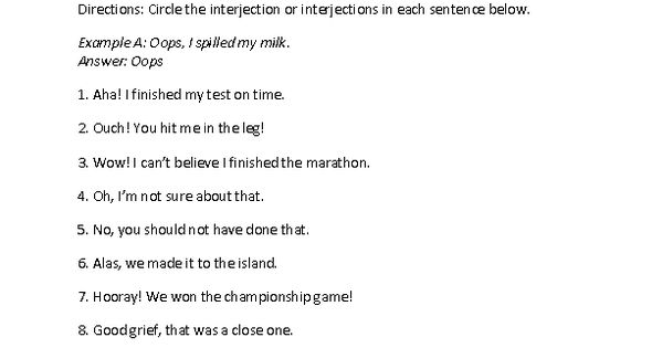 Circling Interjections Worksheet interjections – Interjection Worksheet