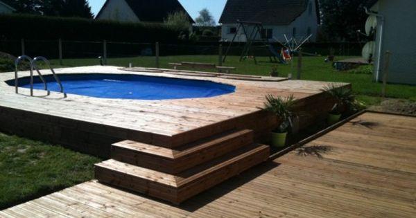 piscine intégrée dans une terrasse bois   Pool   Pinterest   Spa