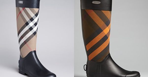 Tuck skinny jeans or slim pants into tall rain boots from Burberry ...