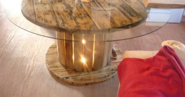 Unique Cable Reel Table With Large Glass Top And Light Box In The Centre Spool Furniture Cable Reel Cable Reel Table