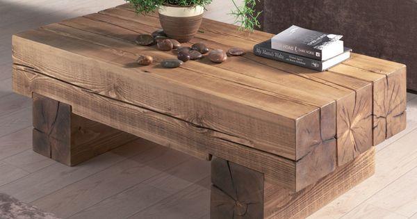 table basse poutre en pin massif home pinterest terrasse blocs de bois et caf. Black Bedroom Furniture Sets. Home Design Ideas