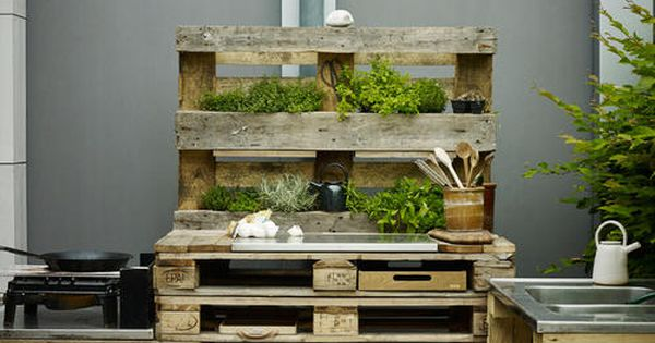 diy outdoork che aus paletten bauen kochen upcycling und selber machen. Black Bedroom Furniture Sets. Home Design Ideas