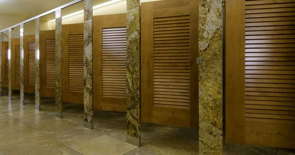 Ironwood Manufacturing Louvered Door Toilet Partition With Stone Pilasters And Panels Vamping