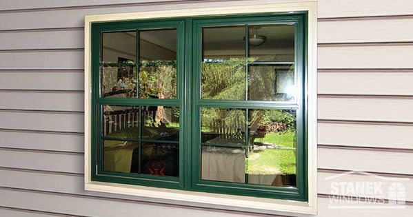 Two Double Hung Windows Mulled Together Feature Colonial Grids Hunter Green Exterior Color Provide Painting Vinyl Windows Vinyl Window Trim Vinyl Window Frame