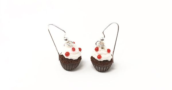 So Chic Jewels Childrens 925 Sterling Silver Cupcake Earrings