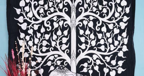 Elephant Tree Tapestry ,Good Luck White Elephant Tapestry , Hippie Gypsy Wall