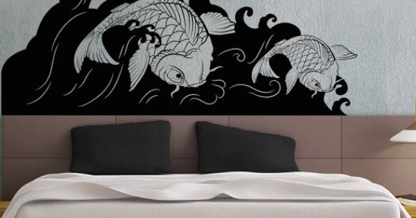 Koi fish wave uber decals wall decal vinyl decor art for Koi wall sticker