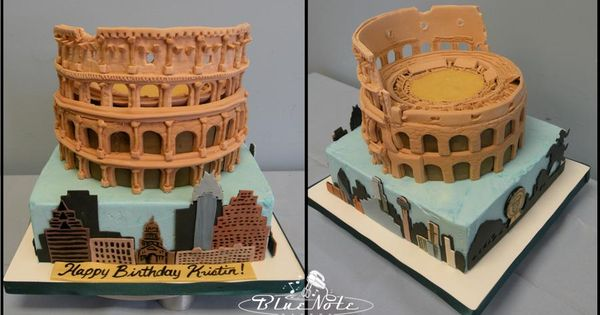 Roman Colosseum And City Skyline Cake Blue Note Bakery