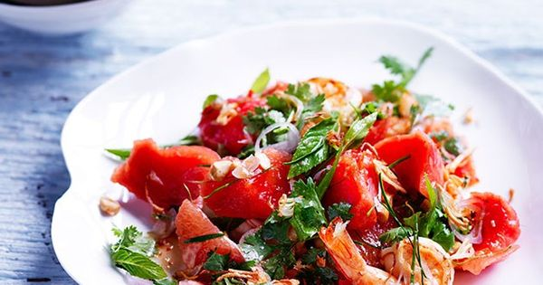 Sweet and sour watermelon salad with pink grapefruit and prawns recipe :: Gourmet Traveller