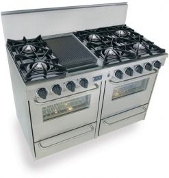 48 6 Burner Reversible Grill Griddle Double Oven With One Gas One Electric As An Option Or Both Gas Double Oven Range Kitchen Stove Oven Range