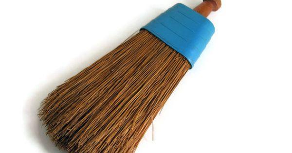 Small Whisk Broom Wood Handle Vintage Turquoise Plastic