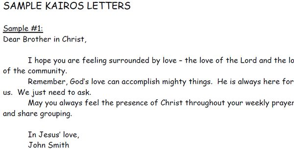 An example of a Kairos letter. Each participant receives a bag ...