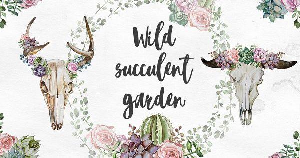 Watercolor Wild Succulent Garden Set by ArtCreationsDesign on @creativemarket
