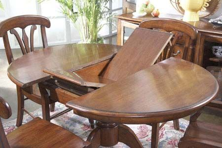 Round Oak Pedestal Table With Butterfly Leaf Dining Room Table