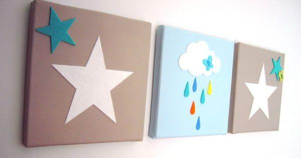 Tableau pour chambre d 39 enfant toiles et nuage bleu blanc taupe cadeau de naissance taupe - Deco chambre bebe gara on taupe et bleu ...