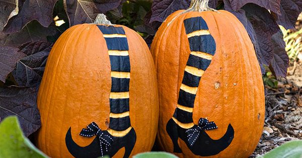 painted pumpkin ideas - witch's legs on two pumpkins