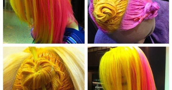 Beautiful two colour hair dye partitioning