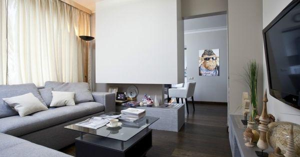 Wohnzimmer Modern Einrichten Graue Möbel Gas Kamin Raumteiler Essbereich |  Wohnen | Pinterest