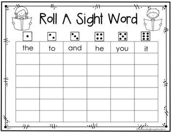 Roll A Sight Word Editable Freebie Sight Words Kindergarten