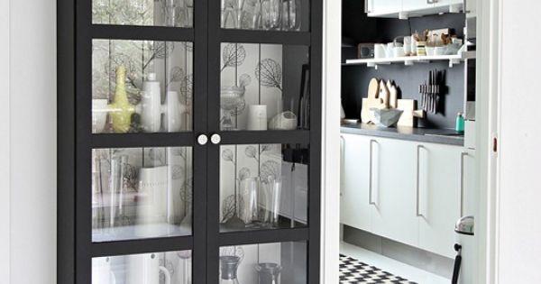 billy painted matte black with wallpaper back shelves. Black Bedroom Furniture Sets. Home Design Ideas