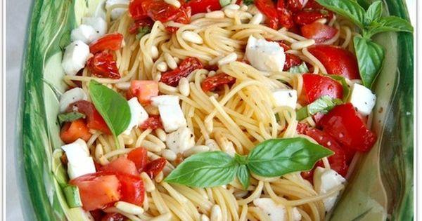 Two Tomato Pasta Salad with Mozzarella and Pine Nuts via The Italian