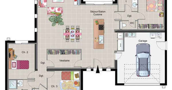 Plan de maison plain pied archi pinterest for Maison container loire atlantique