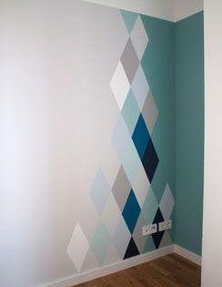 Motifs losange peint sur mur d co pinterest motif for Peindre motif mur