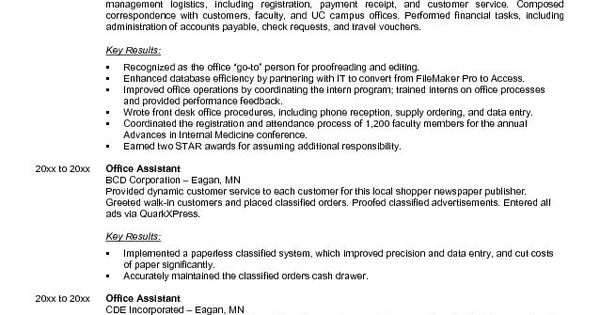 Professional Resume Cover Letter Sample Office Cover Letter - sample resume for office assistant
