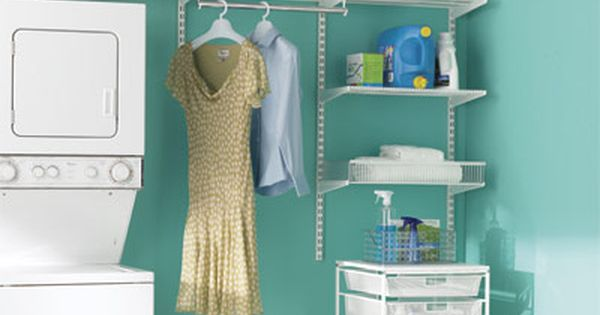 Elfa Closet System White Laundry Space The Container Store
