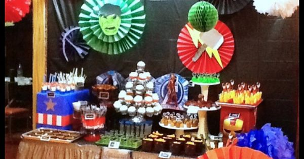 Avengers Party Dessert Bar by PAPEL COUTURE. Avengers partydessert Visit www.fireblossomcandle.com for