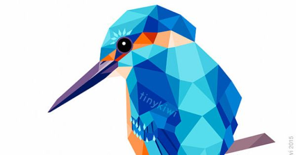 Ijsvogel geometrische druk originele illustratie animal for Minimal art kunst