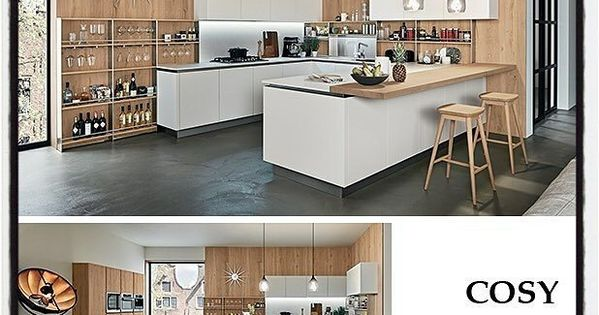 Glossy Black And White Kitchens With Wooden Elements Oyster By Veneta Cucine