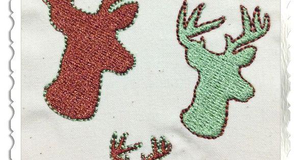 small deer head buck silhouette machine embroidery design
