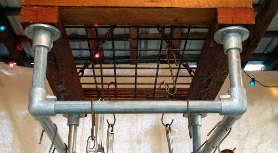Kitchen pot rack reclaimed wood industrial galvanized for Reclaimed wood pot rack