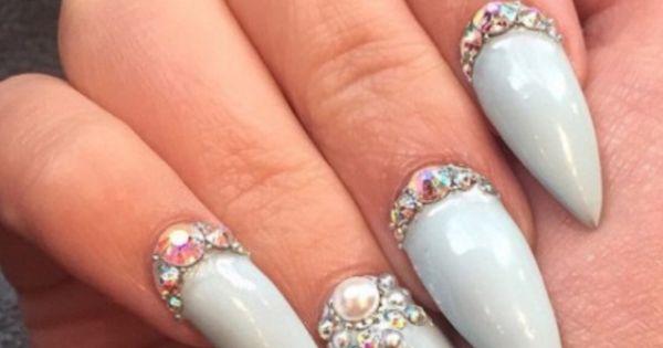 #blueish #gel #swarovski   Expensive Nails