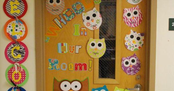 D coration de porte chouettes pinterest salle de for Decoration porte salle de classe