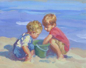 Canvas Giclee Two Little Beach Boys Boys On The Beach Beach Boy