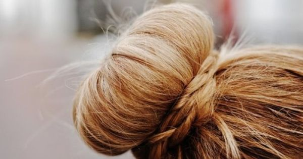 love the braid around the bun