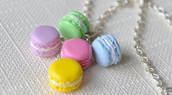 Macaroon Necklace Polymer Clay Charm by sillychic on Etsy, $20.00