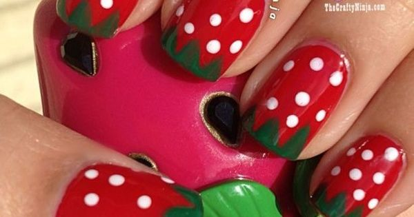Strawberry nail art!