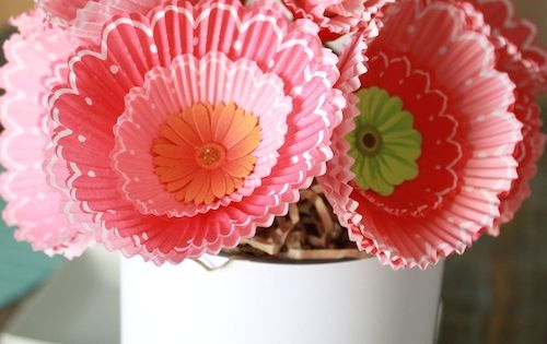 DIY Cupcake Liner Bouquets Paper Flower DIY project marthastewart