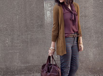 Fall colors beautifully displayed in this look. Subtle but still making a