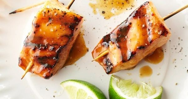 Caramelized Salmon Skewers | Recipe | Salmon Skewers, Skewer ...
