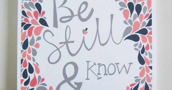 Navy & Coral, Scripture, Bible Verse, Psalms, Be Still and Know, Girls